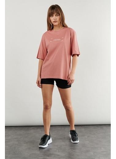 Levure Oversize Baskılı T-Shirt Pembe